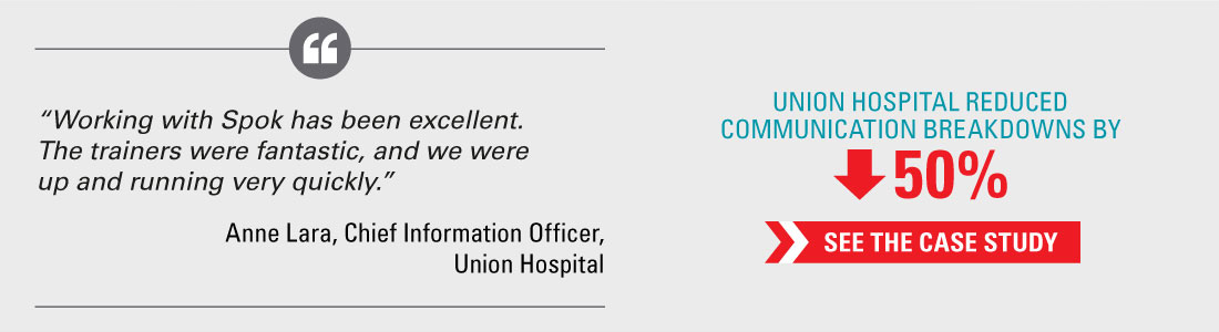 Union Hospital reduced communication breakdowns by 50% - See the case study