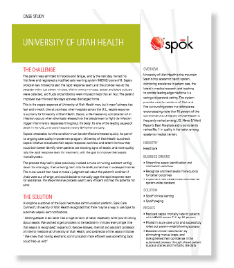 University of Utah Health Sepsis Case Study page