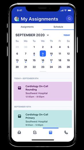 Mobile schedule screenshot