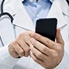 Physician using smartphone